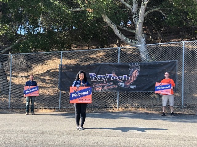 BayTech Admin welcoming students back for the remote school year.